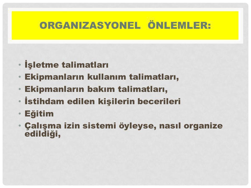 ORGANIZASYONEL ÖNLEMLER: İşletme talimatları Ekipmanların kullanım talimatları, Ekipmanların bakım talimatları, İstihdam edilen kişilerin becerileri E