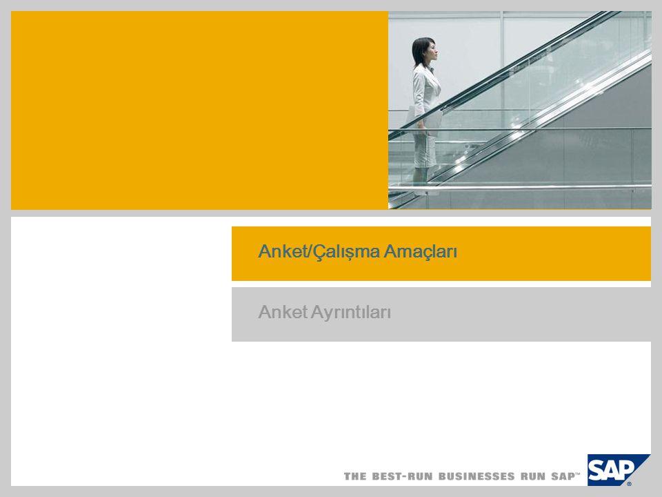 Anket Sonuçları Yöntem ve değerlendirme prosedürü Anket, 2004/2005 yıllarında gerçekleştirilen çalışma ve bunu izleyen telefon görüşmelerinden yararlanılarak hazırlanmıştır Amaç: SAP Business All-in-One, SAP Best Practices ın ürün haline getirmedeki etkisinin yanı sıra satış ve uygulama projelerindeki etkisinin değerlendirilmesi Çalışma süresi: Ekim 2006 - Ocak 2007 SME Solution Center Asya Pasifik Japonya tarafından yürütülmüştür Cevap Oranı: %56 Ana sonuç: önemli faydalar Operasyonel avantajlar: Daha hızlı uygulama Güvenilirlik, Tahmin Edilebilirlik, Uygun Maliyet Daha çabuk fayda sağlama Finansal faydalar: Daha düşük proje maliyetleri Daha Düşük Toplam İşletme Masrafları (TCO)