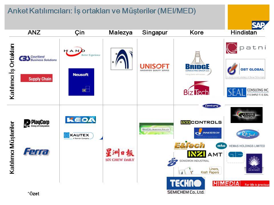 Anket Katılımcıları: İş ortakları ve Müşteriler (MEI/MED) ANZÇinMalezyaSingapurKoreHindistan Katılımcı İş Ortakları Katılımcı Müşteriler * Ö zet