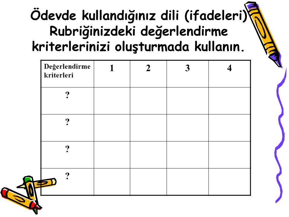 Ödevde kullandığınız dili (ifadeleri) Rubriğinizdeki değerlendirme kriterlerinizi oluşturmada kullanın. Değerlendirme kriterleri 1234 ? ? ? ?