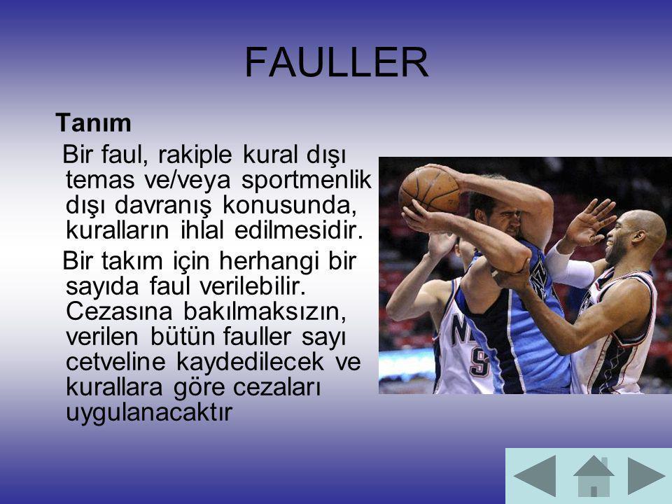 FAULLER Tanım Bir faul, rakiple kural dışı temas ve/veya sportmenlik dışı davranış konusunda, kuralların ihlal edilmesidir. Bir takım için herhangi bi
