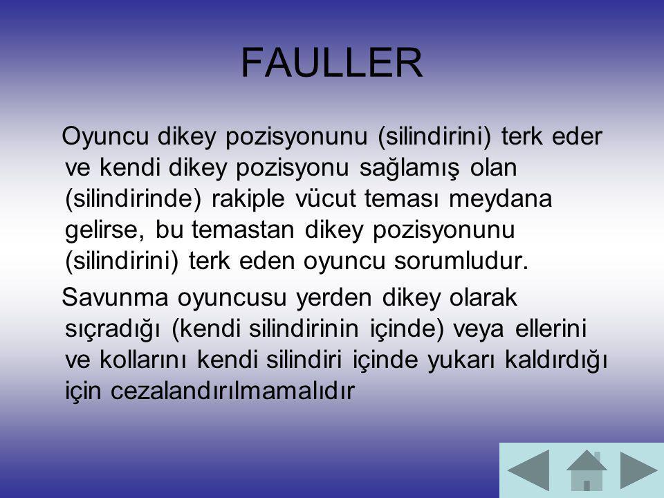 FAULLER Oyuncu dikey pozisyonunu (silindirini) terk eder ve kendi dikey pozisyonu sağlamış olan (silindirinde) rakiple vücut teması meydana gelirse, b