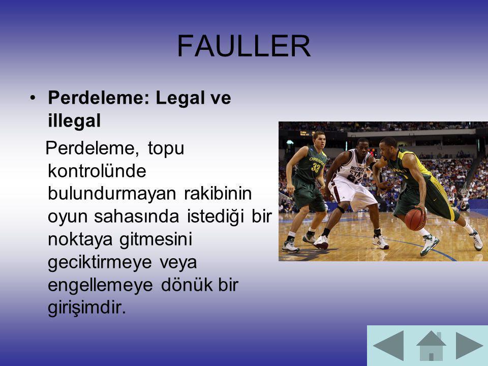 FAULLER Perdeleme: Legal ve illegal Perdeleme, topu kontrolünde bulundurmayan rakibinin oyun sahasında istediği bir noktaya gitmesini geciktirmeye vey