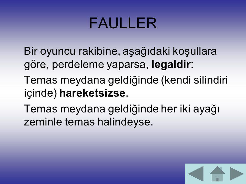 FAULLER Bir oyuncu rakibine, aşağıdaki koşullara göre, perdeleme yaparsa, legaldir: Temas meydana geldiğinde (kendi silindiri içinde) hareketsizse. Te