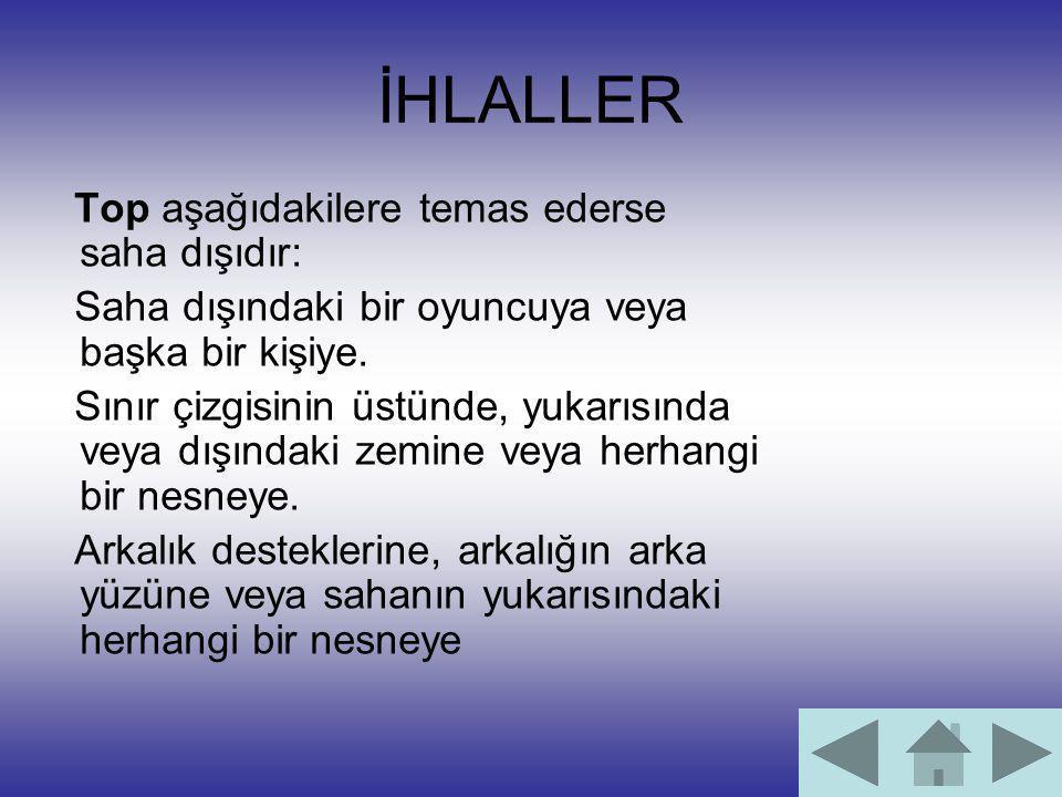 İHLALLER Top aşağıdakilere temas ederse saha dışıdır: Saha dışındaki bir oyuncuya veya başka bir kişiye. Sınır çizgisinin üstünde, yukarısında veya dı