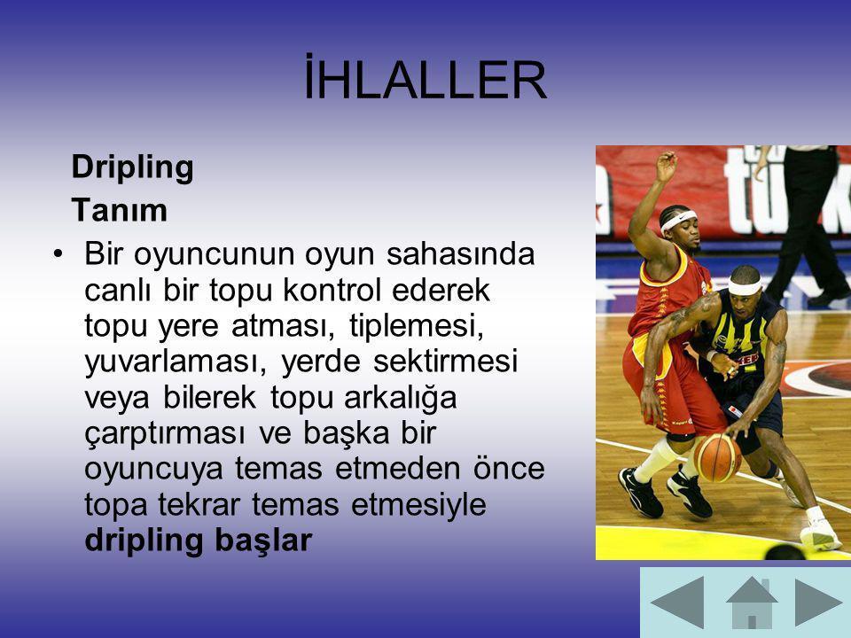 İHLALLER Dripling Tanım Bir oyuncunun oyun sahasında canlı bir topu kontrol ederek topu yere atması, tiplemesi, yuvarlaması, yerde sektirmesi veya bil