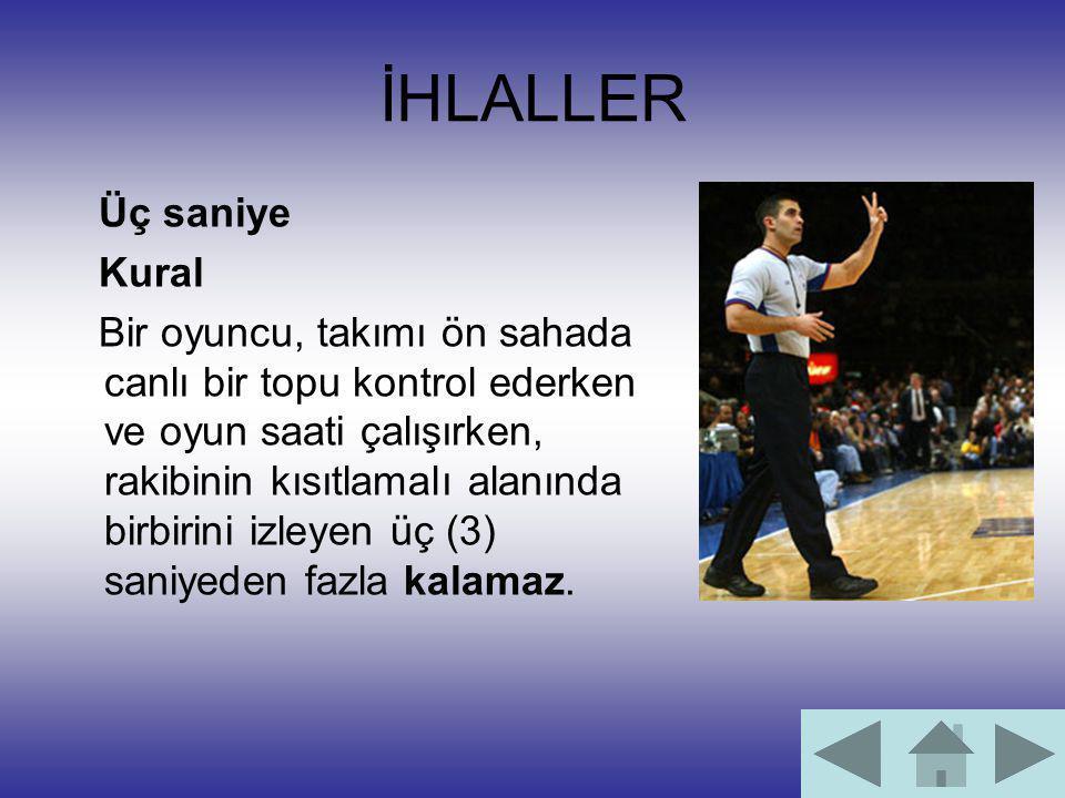 İHLALLER Üç saniye Kural Bir oyuncu, takımı ön sahada canlı bir topu kontrol ederken ve oyun saati çalışırken, rakibinin kısıtlamalı alanında birbirin