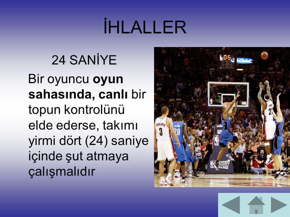İHLALLER 24 SANİYE Bir oyuncu oyun sahasında, canlı bir topun kontrolünü elde ederse, takımı yirmi dört (24) saniye içinde şut atmaya çalışmalıdır