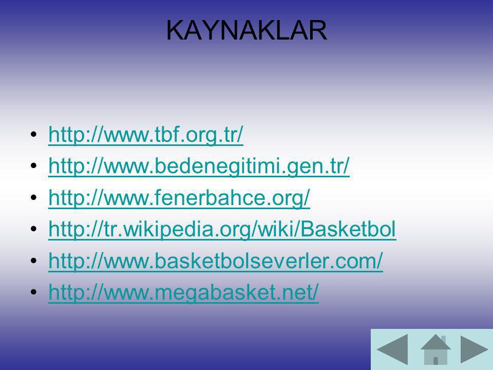 KAYNAKLAR http://www.tbf.org.tr/ http://www.bedenegitimi.gen.tr/ http://www.fenerbahce.org/ http://tr.wikipedia.org/wiki/Basketbol http://www.basketbo