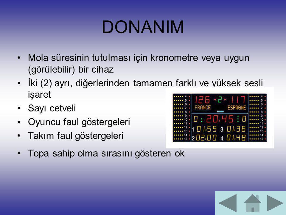 DONANIM Mola süresinin tutulması için kronometre veya uygun (görülebilir) bir cihaz İki (2) ayrı, diğerlerinden tamamen farklı ve yüksek sesli işaret