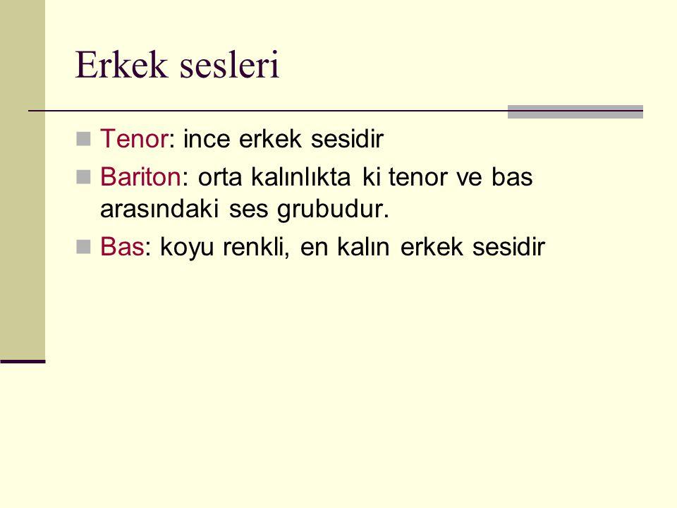 Erkek sesleri Tenor: ince erkek sesidir Bariton: orta kalınlıkta ki tenor ve bas arasındaki ses grubudur. Bas: koyu renkli, en kalın erkek sesidir