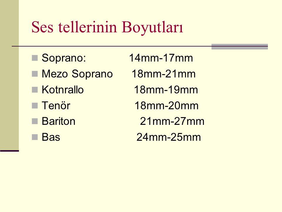 Ses tellerinin Boyutları Soprano: 14mm-17mm Mezo Soprano 18mm-21mm Kotnrallo 18mm-19mm Tenör 18mm-20mm Bariton 21mm-27mm Bas 24mm-25mm