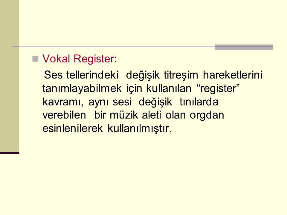 """Vokal Register: Ses tellerindeki değişik titreşim hareketlerini tanımlayabilmek için kullanılan """"register"""" kavramı, aynı sesi değişik tınılarda verebi"""
