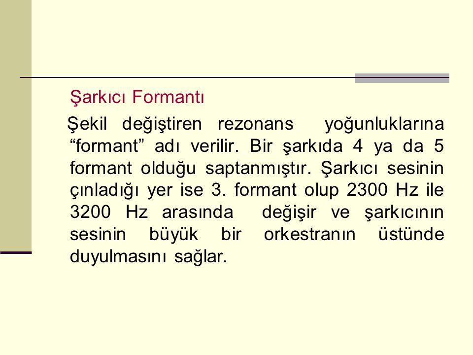 """Şarkıcı Formantı Şekil değiştiren rezonans yoğunluklarına """"formant"""" adı verilir. Bir şarkıda 4 ya da 5 formant olduğu saptanmıştır. Şarkıcı sesinin çı"""