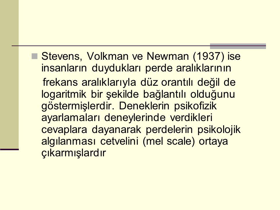 Stevens, Volkman ve Newman (1937) ise insanların duydukları perde aralıklarının frekans aralıklarıyla düz orantılı değil de logaritmik bir şekilde bağ