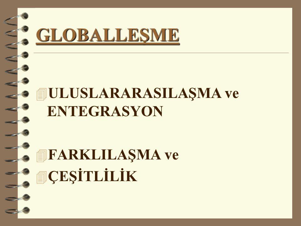 GLOBALLEŞME 4 ULUSLARARASILAŞMA ve ENTEGRASYON 4 FARKLILAŞMA ve 4 ÇEŞİTLİLİK