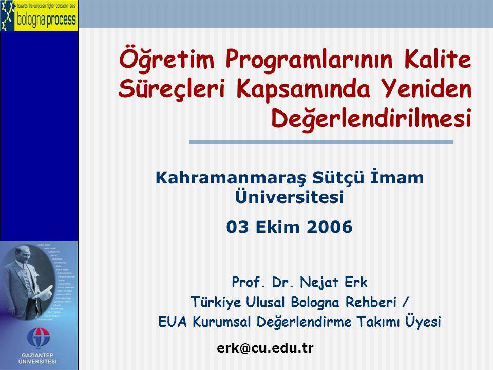 Öğretim Programlarının Kalite Süreçleri Kapsamında Yeniden Değerlendirilmesi Prof. Dr. Nejat Erk Türkiye Ulusal Bologna Rehberi / EUA Kurumsal Değerle
