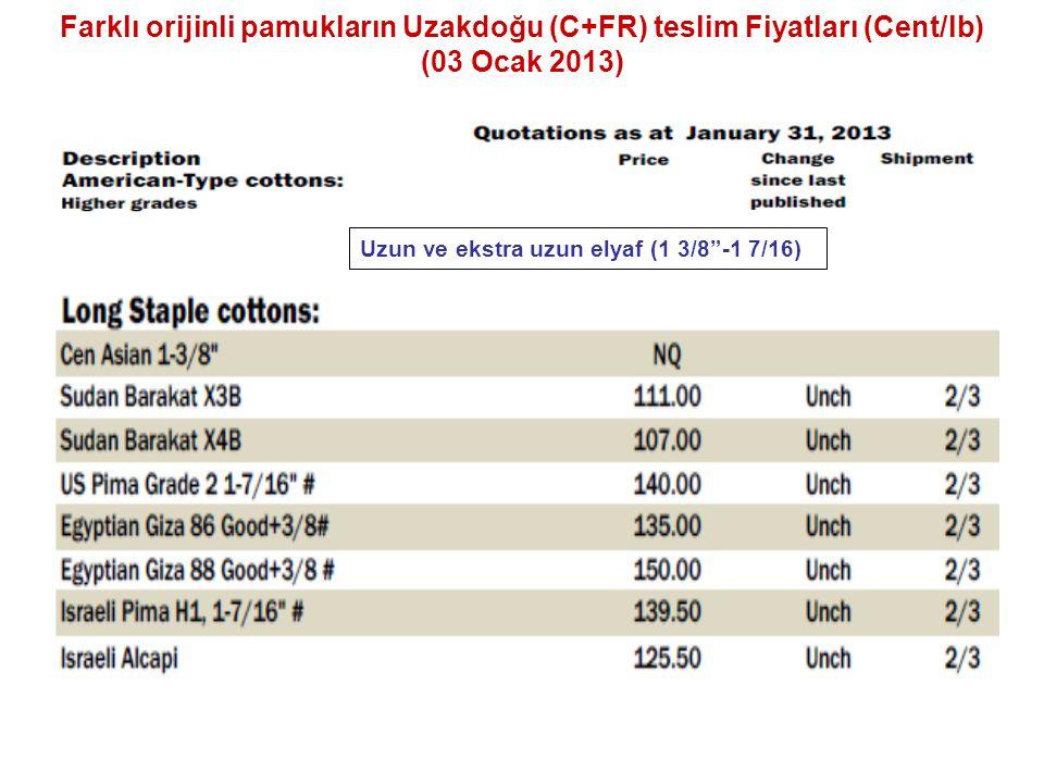 """Farklı orijinli pamukların Uzakdoğu (C+FR) teslim Fiyatları (Cent/lb) (03 Ocak 2013) Uzun ve ekstra uzun elyaf (1 3/8""""-1 7/16)"""