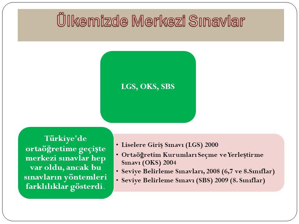 LGS, OKS, SBS Liselere Giri ş Sınavı (LGS) 2000 Ortaö ğ retim Kurumları Seçme ve Yerle ş tirme Sınavı (OKS) 2004 Seviye Belirleme Sınavları, 2008 (6,7