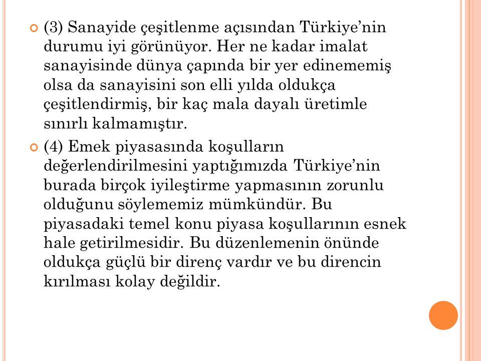 (3) Sanayide çeşitlenme açısından Türkiye'nin durumu iyi görünüyor. Her ne kadar imalat sanayisinde dünya çapında bir yer edinememiş olsa da sanayisin