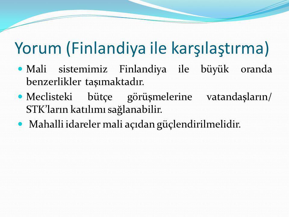 Yorum (Finlandiya ile karşılaştırma) Mali sistemimiz Finlandiya ile büyük oranda benzerlikler taşımaktadır. Meclisteki bütçe görüşmelerine vatandaşlar