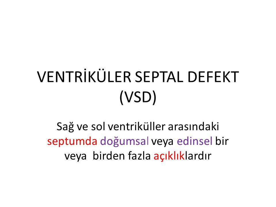 VENTRİKÜLER SEPTAL DEFEKT (VSD) Sağ ve sol ventriküller arasındaki septumda doğumsal veya edinsel bir veya birden fazla açıklıklardır