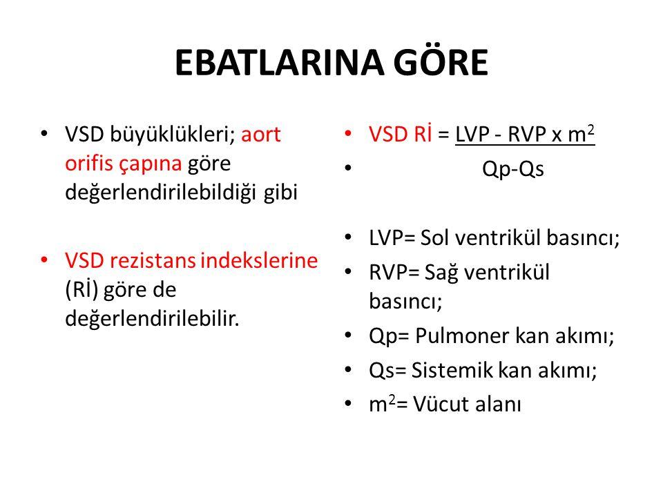 EBATLARINA GÖRE VSD büyüklükleri; aort orifis çapına göre değerlendirilebildiği gibi VSD rezistans indekslerine (Rİ) göre de değerlendirilebilir. VSD