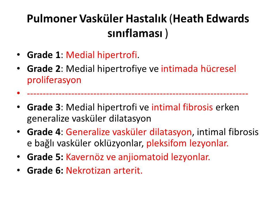 Pulmoner Vasküler Hastalık (Heath Edwards sınıflaması ) Grade 1: Medial hipertrofi. Grade 2: Medial hipertrofiye ve intimada hücresel proliferasyon --