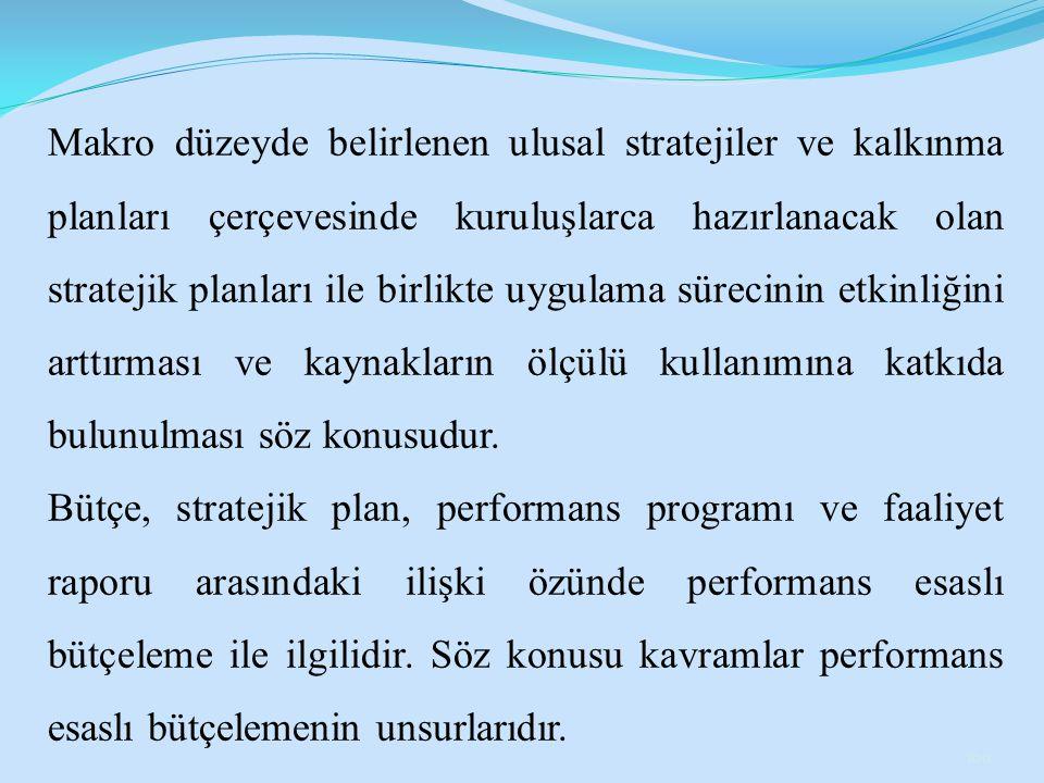 Makro düzeyde belirlenen ulusal stratejiler ve kalkınma planları çerçevesinde kuruluşlarca hazırlanacak olan stratejik planları ile birlikte uygulama