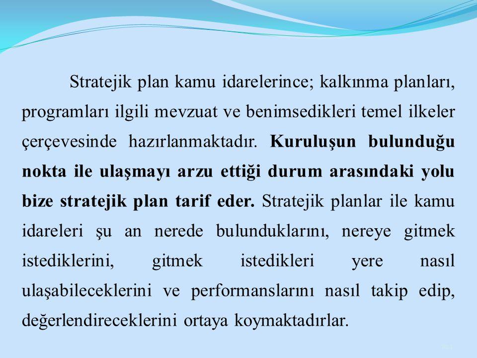 Stratejik plan kamu idarelerince; kalkınma planları, programları ilgili mevzuat ve benimsedikleri temel ilkeler çerçevesinde hazırlanmaktadır. Kuruluş