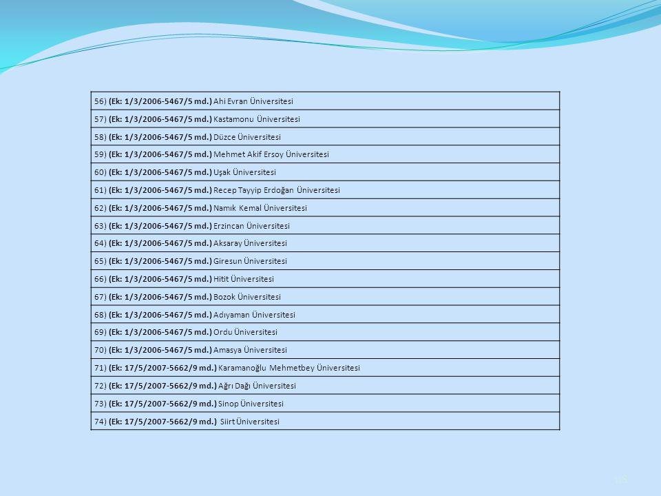 118 56) (Ek: 1/3/2006-5467/5 md.) Ahi Evran Üniversitesi 57) (Ek: 1/3/2006-5467/5 md.) Kastamonu Üniversitesi 58) (Ek: 1/3/2006-5467/5 md.) Düzce Üniv