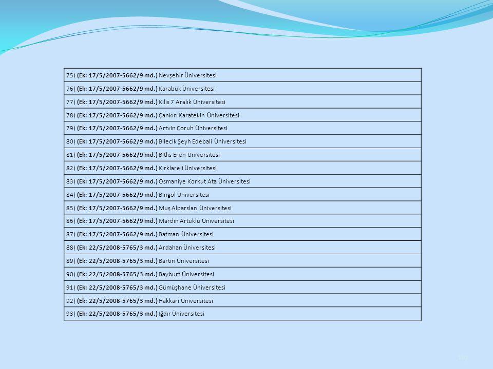 119 75) (Ek: 17/5/2007-5662/9 md.) Nevşehir Üniversitesi 76) (Ek: 17/5/2007-5662/9 md.) Karabük Üniversitesi 77) (Ek: 17/5/2007-5662/9 md.) Kilis 7 Ar