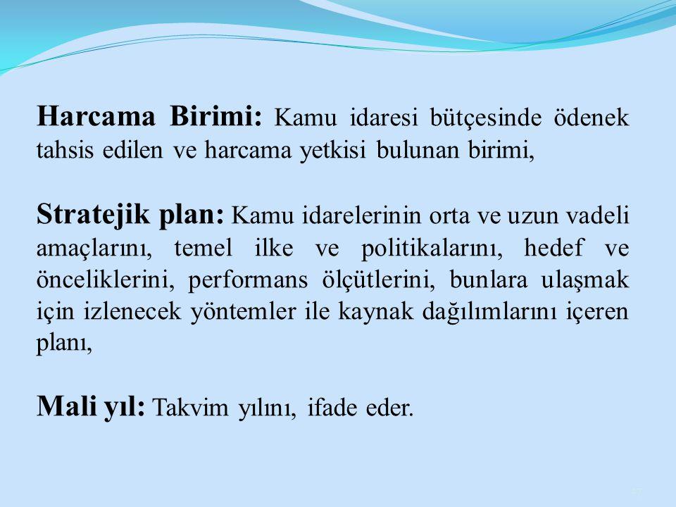 Harcama Birimi: Kamu idaresi bütçesinde ödenek tahsis edilen ve harcama yetkisi bulunan birimi, Stratejik plan: Kamu idarelerinin orta ve uzun vadeli