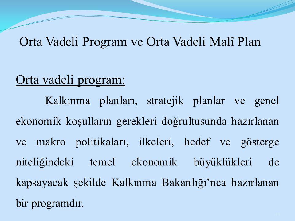Orta Vadeli Program ve Orta Vadeli Malî Plan Orta vadeli program: Kalkınma planları, stratejik planlar ve genel ekonomik koşulların gerekleri doğrultu