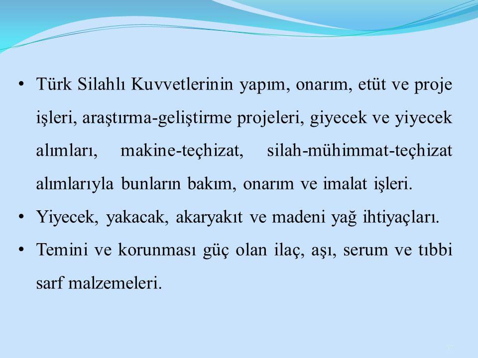 Türk Silahlı Kuvvetlerinin yapım, onarım, etüt ve proje işleri, araştırma-geliştirme projeleri, giyecek ve yiyecek alımları, makine-teçhizat, silah-mü