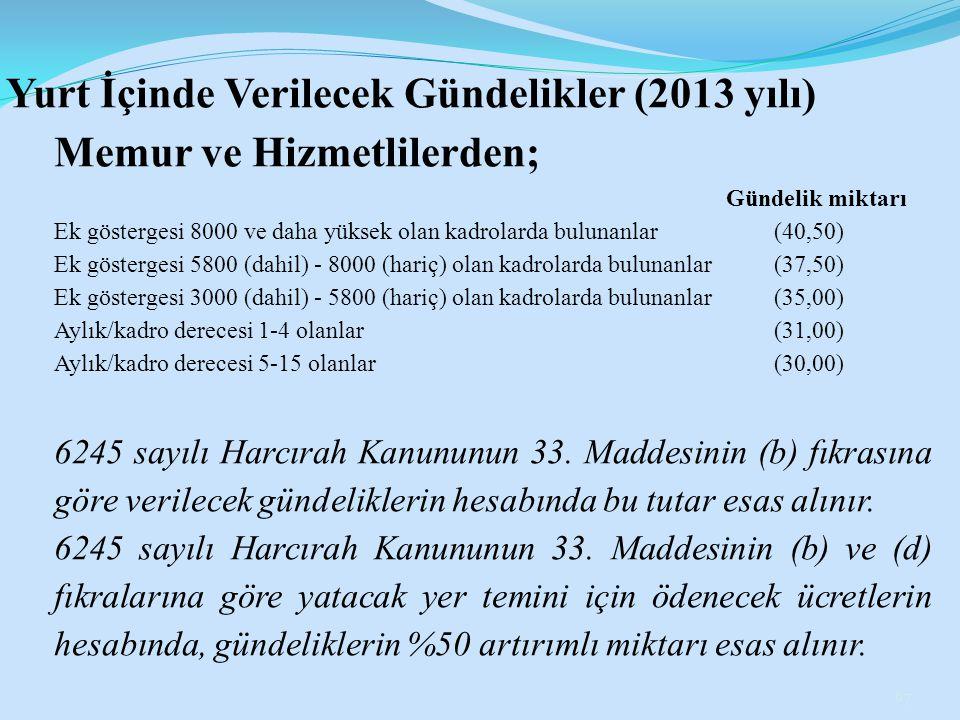 Yurt İçinde Verilecek Gündelikler (2013 yılı) Memur ve Hizmetlilerden; Gündelik miktarı Ek göstergesi 8000 ve daha yüksek olan kadrolarda bulunanlar(4