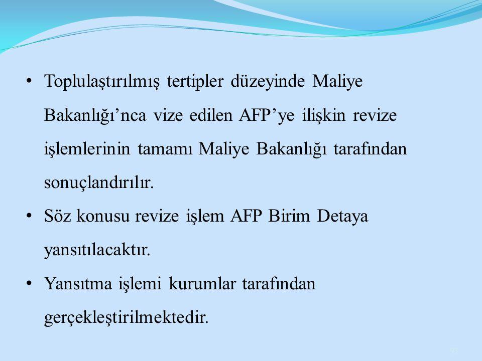 Toplulaştırılmış tertipler düzeyinde Maliye Bakanlığı'nca vize edilen AFP'ye ilişkin revize işlemlerinin tamamı Maliye Bakanlığı tarafından sonuçlandı