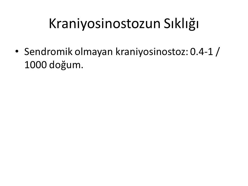 Kraniyosinostozun Sıklığı Sendromik olmayan kraniyosinostoz: 0.4-1 / 1000 doğum.