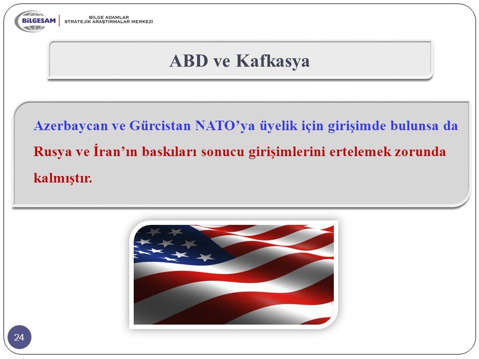 24 ABD ve Kafkasya Azerbaycan ve Gürcistan NATO'ya üyelik için girişimde bulunsa da Rusya ve İran'ın baskıları sonucu girişimlerini ertelemek zorunda