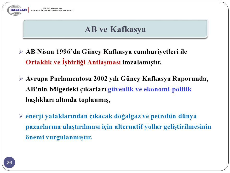 26 AB ve Kafkasya  AB Nisan 1996'da Güney Kafkasya cumhuriyetleri ile Ortaklık ve İşbirliği Antlaşması imzalamıştır.  Avrupa Parlamentosu 2002 yılı
