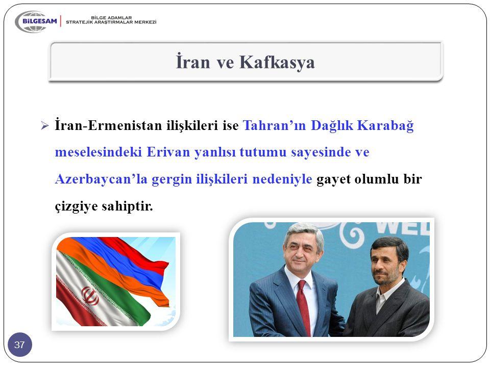 37 İran ve Kafkasya  İran-Ermenistan ilişkileri ise Tahran'ın Dağlık Karabağ meselesindeki Erivan yanlısı tutumu sayesinde ve Azerbaycan'la gergin il