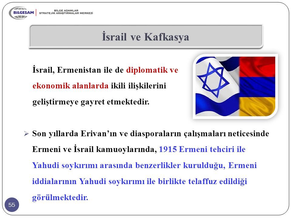 55 İsrail ve Kafkasya  Son yıllarda Erivan'ın ve diasporaların çalışmaları neticesinde Ermeni ve İsrail kamuoylarında, 1915 Ermeni tehciri ile Yahudi