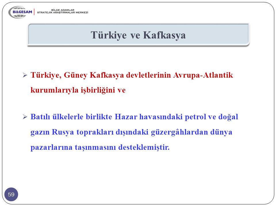 59 Türkiye ve Kafkasya  Türkiye, Güney Kafkasya devletlerinin Avrupa-Atlantik kurumlarıyla işbirliğini ve  Batılı ülkelerle birlikte Hazar havasında