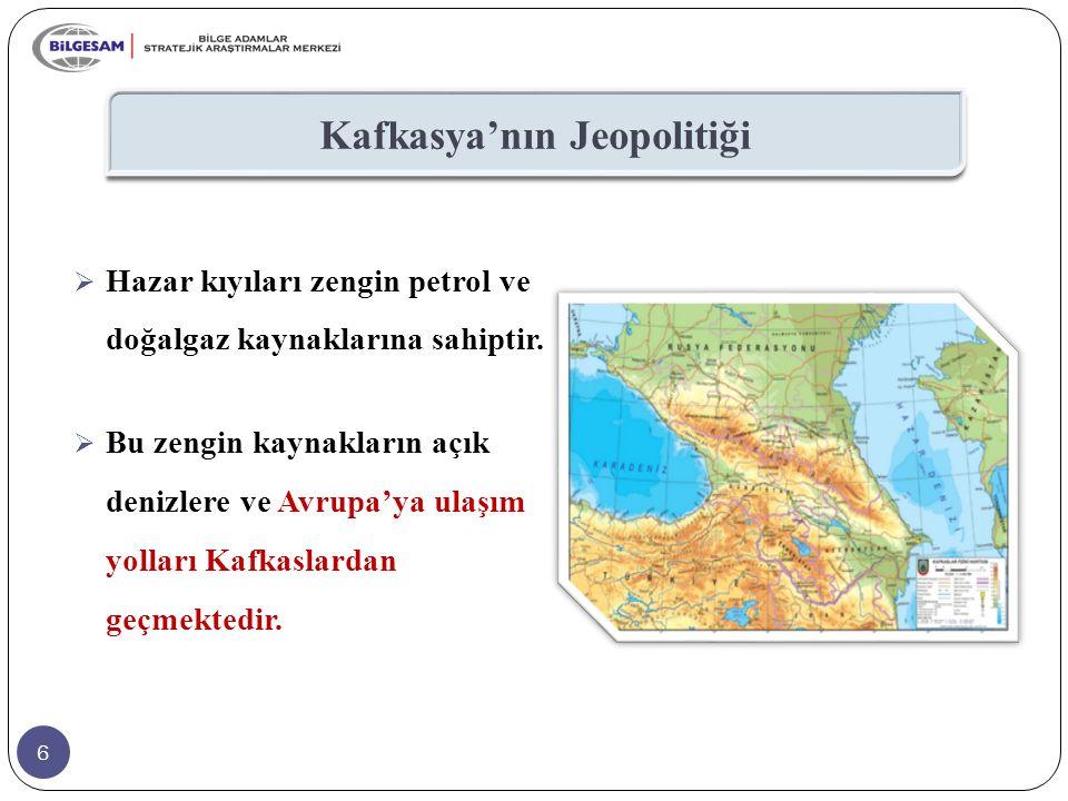 6 Kafkasya'nın Jeopolitiği  Hazar kıyıları zengin petrol ve doğalgaz kaynaklarına sahiptir.  Bu zengin kaynakların açık denizlere ve Avrupa'ya ulaşı