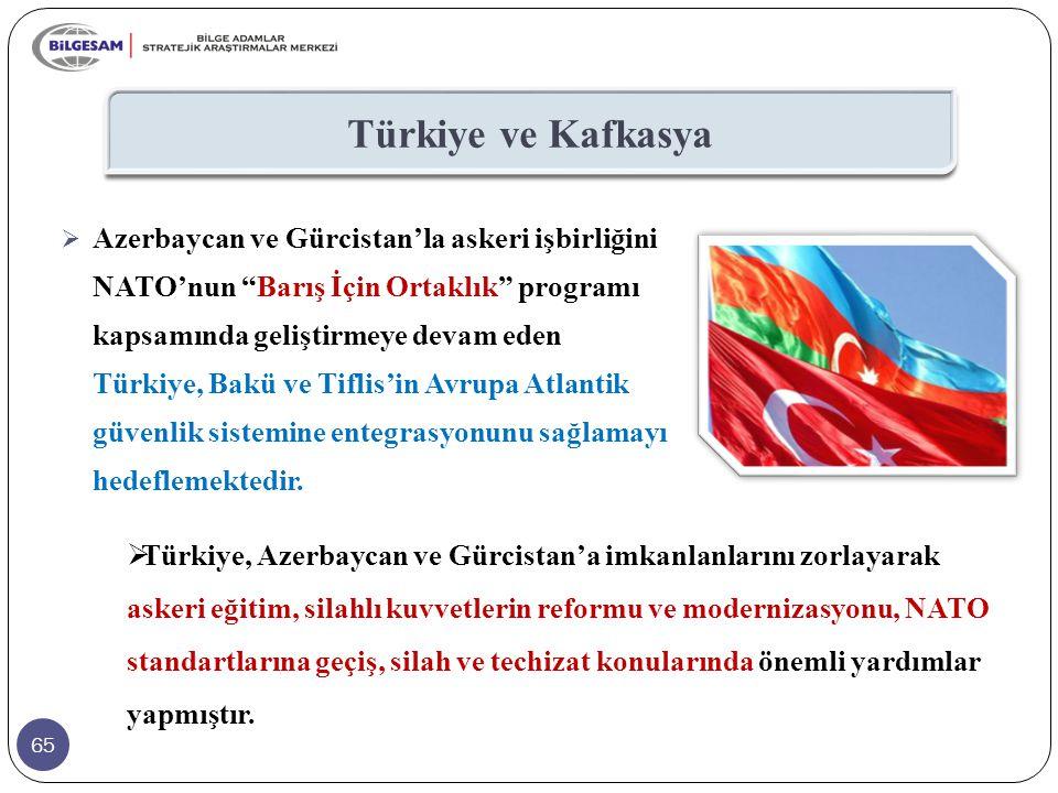 """65 Türkiye ve Kafkasya  Azerbaycan ve Gürcistan'la askeri işbirliğini NATO'nun """"Barış İçin Ortaklık"""" programı kapsamında geliştirmeye devam eden Türk"""