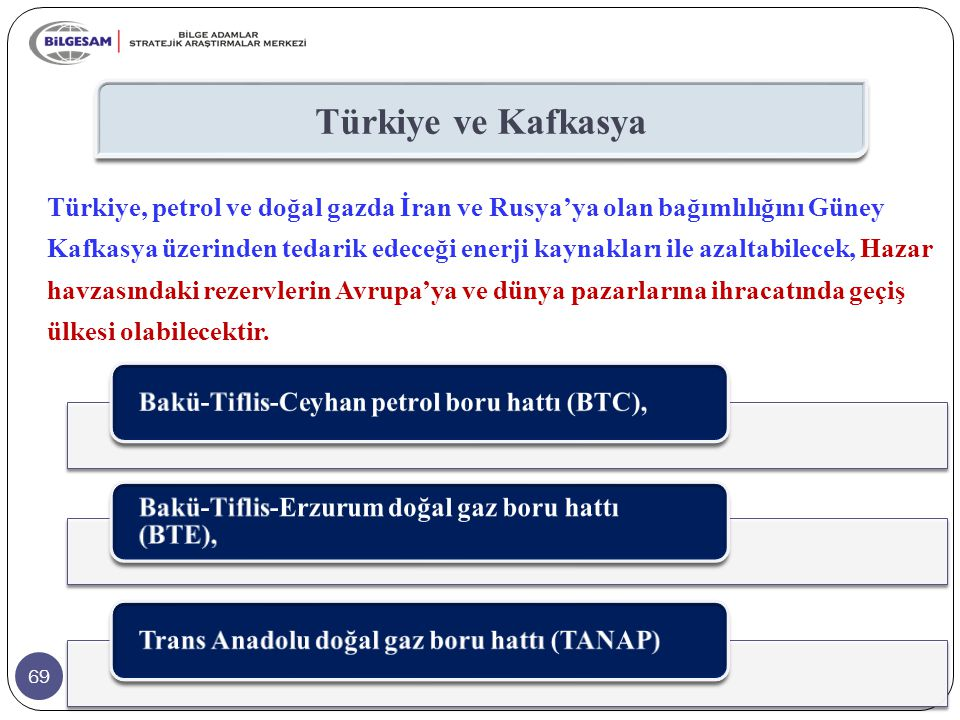 69 Türkiye ve Kafkasya Türkiye, petrol ve doğal gazda İran ve Rusya'ya olan bağımlılığını Güney Kafkasya üzerinden tedarik edeceği enerji kaynakları i