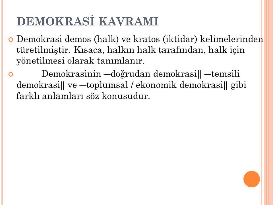DEMOKRASİ KAVRAMI Demokrasi demos (halk) ve kratos (iktidar) kelimelerinden türetilmiştir. Kısaca, halkın halk tarafından, halk için yönetilmesi olara