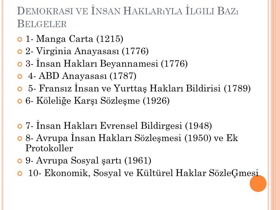 D EMOKRASI VE İ NSAN H AKLARıYLA İ LGILI B AZı B ELGELER 1- Manga Carta (1215) 2- Virginia Anayasası (1776) 3- İnsan Hakları Beyannamesi (1776) 4- ABD