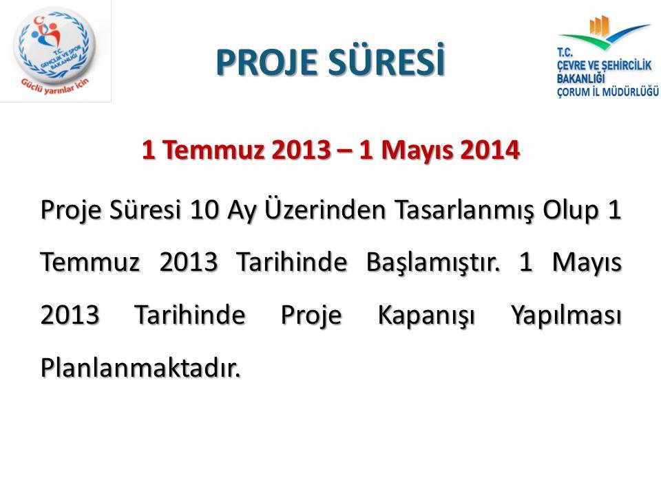 PROJE SÜRESİ 1 Temmuz 2013 – 1 Mayıs 2014 Proje Süresi 10 Ay Üzerinden Tasarlanmış Olup 1 Temmuz 2013 Tarihinde Başlamıştır. 1 Mayıs 2013 Tarihinde Pr