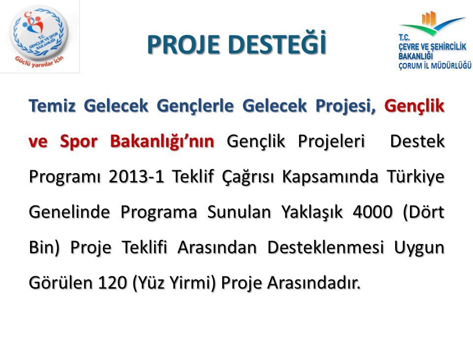 PROJE DESTEĞİ Temiz Gelecek Gençlerle Gelecek Projesi, Gençlik ve Spor Bakanlığı'nın Gençlik Projeleri Destek Programı 2013-1 Teklif Çağrısı Kapsamınd